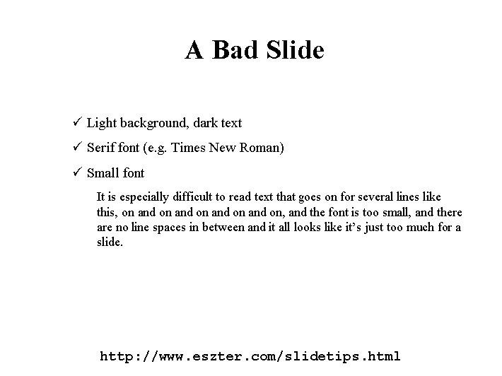 Eszter Hargittai's Slide Presentation Tips and Tricks Page